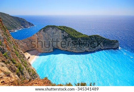 Amazing Navagio Beach(shipwreck) in Zakynthos Island, Greece - stock photo