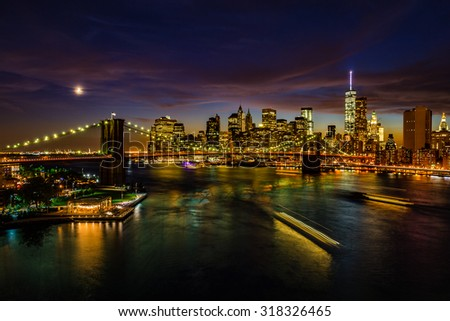 Amazing New York cityscape after sunset - stock photo