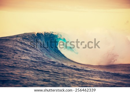 Amazing Ocean Wave Breaking at Sunset, Epic Surf - stock photo