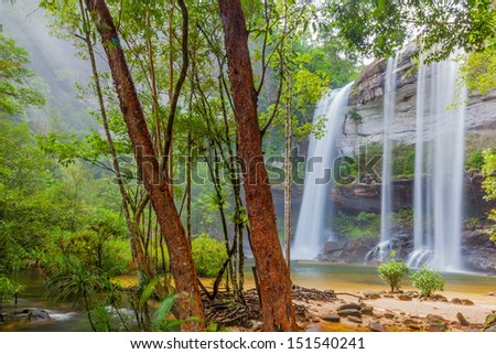 Amazing of Huai Luang Waterfall in Ubon Ratchathani, Thailand  - stock photo