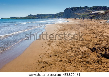 amazing pamorama of Xi Beach,beach with red sand in Kefalonia, Ionian islands, Greece - stock photo