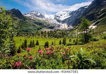 Amazing panorama of French Apls, part of famous trekk - Tour du Mont Blanc - stock photo