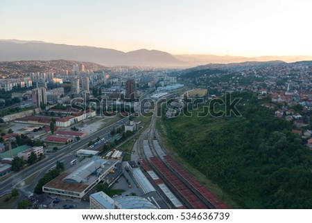 Amazing panorama view on Sarajevo city from the tower birds view