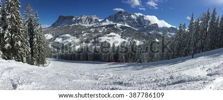 Amazing panorama view on the mountains in Italian Alps.  - stock photo