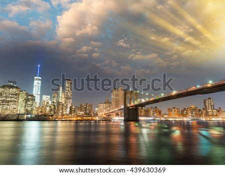 Amazing panoramic view of Lower Manhattan at sunset from Brooklyn, NYC. - stock photo