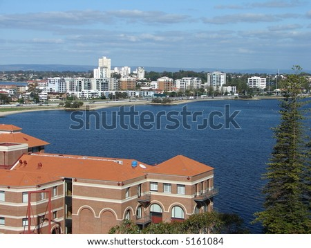Amazing Perth city with swan river - stock photo
