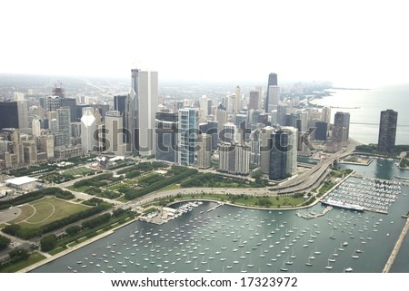 Amazing photo of Chicago's downtown area along Lake Shore Drive - stock photo