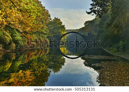 Amazing place in Germany - Rakotzbrucke also known as Devils Bridge in Kromlau.