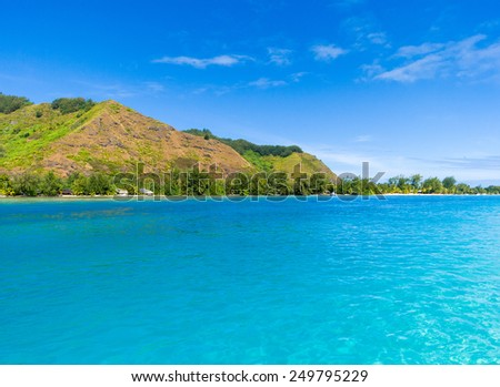 Amazing polynesian beach colors, Tahiti. - stock photo