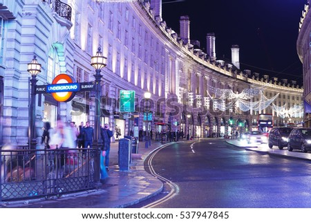 Amazing Regent Street in London at Christmas Time - XMAS 2016 - LONDON / ENGLAND - DECEMBER 10, 2016