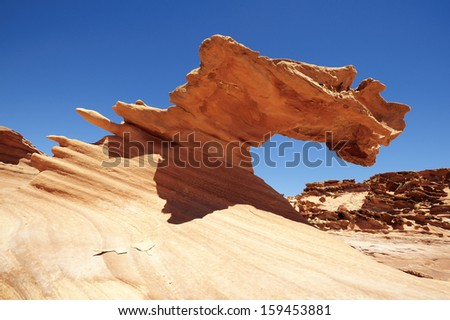 Amazing rock formations of sand stone in Gold Butte, Nevada. - stock photo