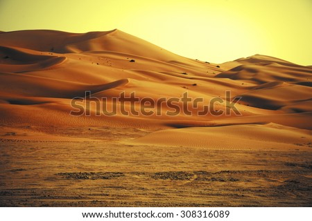 Amazing sand dune formations in Liwa oasis, United Arab Emirates - stock photo