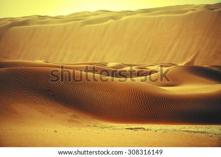 Amazing sand dune formations in Liwa oasis, United Arab Emirates - stock photo
