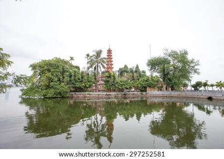 Amazing scenery in TranQuoc pagoda. a famous tourist destination in hanoi, vietnam - stock photo