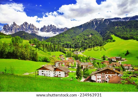 amazing scenery of Dolomites, Italian Alps, View with village Ma - stock photo