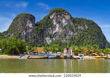Amazing scenery of National Park in Phang Nga Bay, Thailand - stock photo