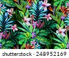 Amazing seamless tropical pattern. Exotic hibiscus and Palm design for fashion or interior. Flower bouquets. - stock vector