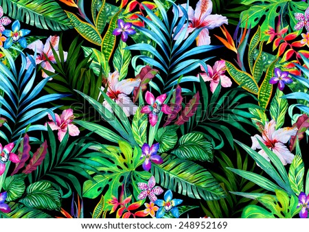 Amazing seamless tropical pattern. Exotic hibiscus and Palm design for fashion or interior. Flower bouquets. - stock photo