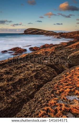 Amazing seascape sunset, Sonabia, Cantabria, Spain - stock photo