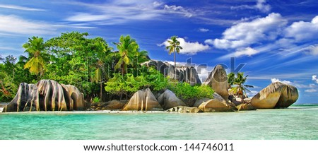 amazing Seychelles. La Digue island - stock photo