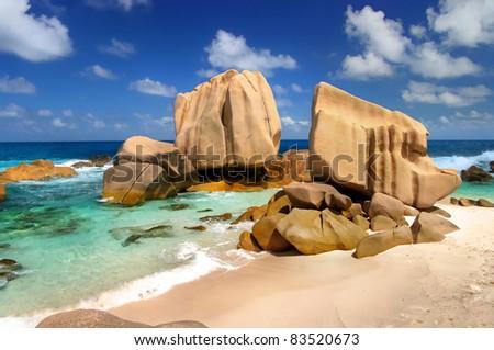amazing Seychelles - rocky beach Maron - stock photo