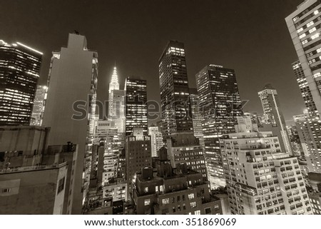 Amazing skyline of New York at night. Manhattan lights.