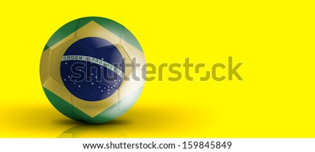 Amazing Soccer ball with Brazil flag isolated on yellow - stock photo
