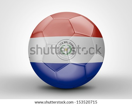 Amazing soccer ball with the flag of Paraguay ( South America ) isolated on white