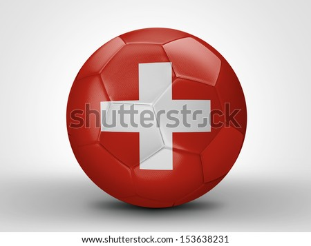 Amazing soccer ball with the flag of Switzerland ( Europe ) isolated on white