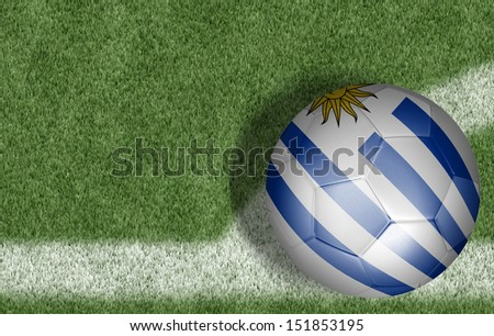 Amazing soccer ball with the flag of Uruguay ( South America ) isolated on white - stock photo