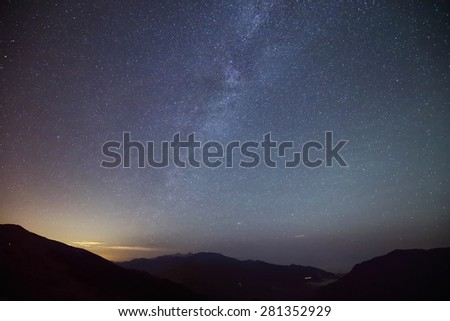 Amazing Star Night - night scene milky way background in the galaxy - stock photo