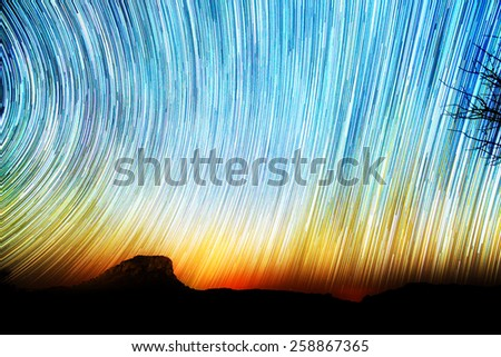 Amazing star trail image seen from Isalo, Madagascar - stock photo