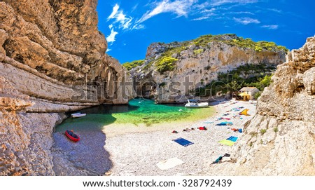 Amazing Stiniva beach of Vis island, Dalmatia, Croatia - stock photo