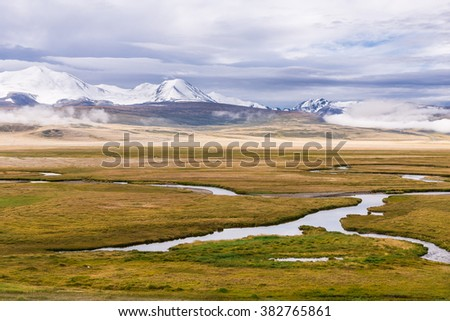 Amazing summer landscape with snowy  mountains and winding river. Plateau Ukok. Altai - stock photo