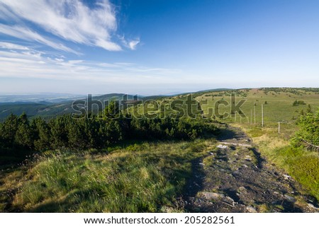 Amazing summer mountain landscape with blue sky and clouds - Jeseniky hills, Czech Republic, Europe - stock photo
