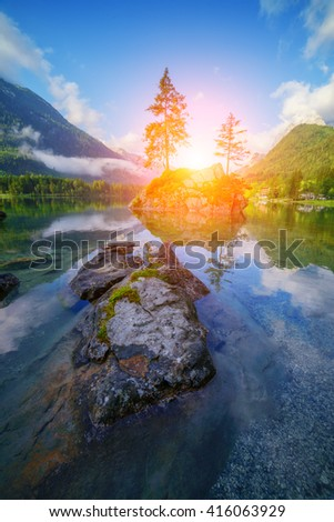 Amazing sunny summer day on the Hintersee lake in Austrian Alps, Europe. - stock photo