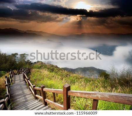 Amazing sunrise and mountain - stock photo