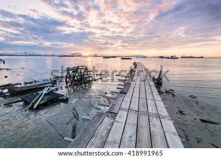 Amazing Sunrise and Sunset in Tan Jetty George Town, Penang Malaysia - stock photo