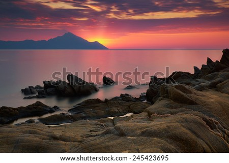 Amazing sunrise in Greece - stock photo