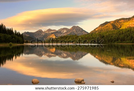 Amazing sunrise reflection in the Wasatch Mountains, Utah, USA. - stock photo