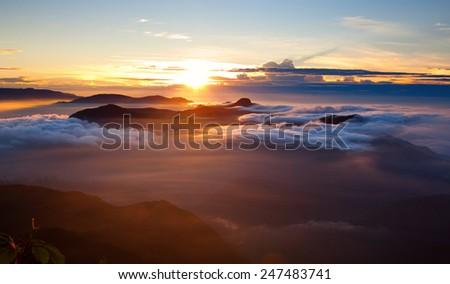 Amazing sunrise seen from Sri Pada - stock photo