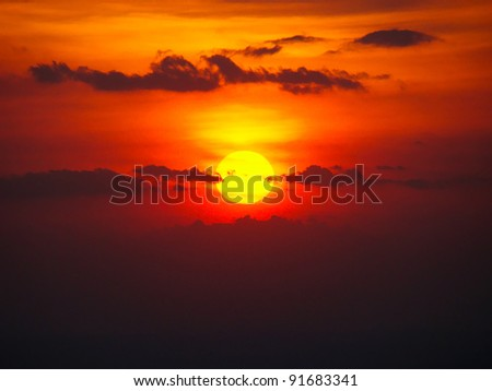 amazing sunset against clouds