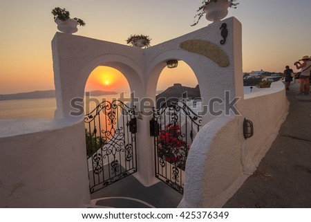 Amazing sunset at Santorini island - Greece - stock photo
