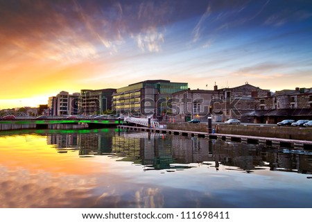 Amazing sunset at the river of Cork city in Ireland - stock photo