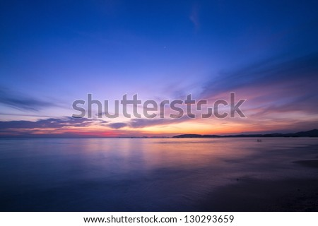 Amazing sunset form thailand beach - stock photo