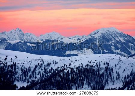 amazing sunset in Alps - stock photo