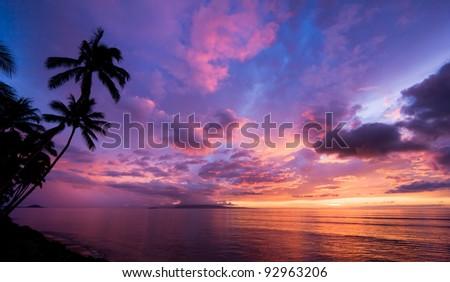 Amazing Sunset in Hawaii - stock photo