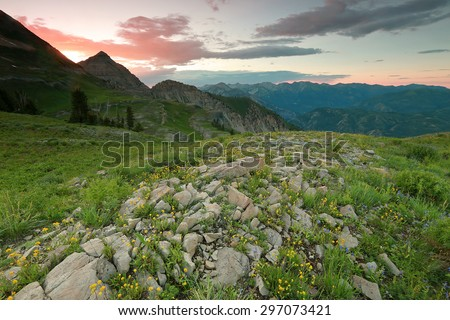 Amazing sunset in the Wasatch Mountains, Utah, USA. - stock photo