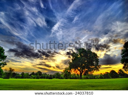 amazing sunset on a golf course (HDR) - stock photo