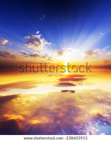 Amazing sunset over ocean. Nature composition. - stock photo